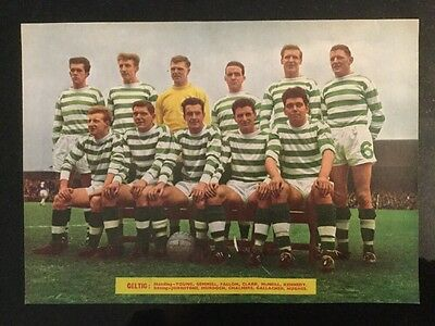 1964 A4 Football TEAM picture poster CELTIC Chalmers Hughes Murdoch Kennedy etc