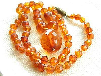 Victorian faceted AMBER old beads~ ganuine antique ~ large bead pendant ~