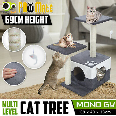 Cat Tree Scratching Post Scratcher Pole Gym House Furniture Multi Level 69cm GY