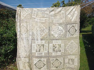 Antique Richelieu work with filet lace bedspread - ecru - 162cms wide x 233cms
