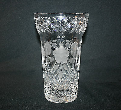 Vintage Crystal Cut Vase With Etched Flower Detail Lovely