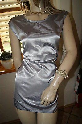 Seidenglatte seidige Satin Bluse Top silber brillanter Glanz L