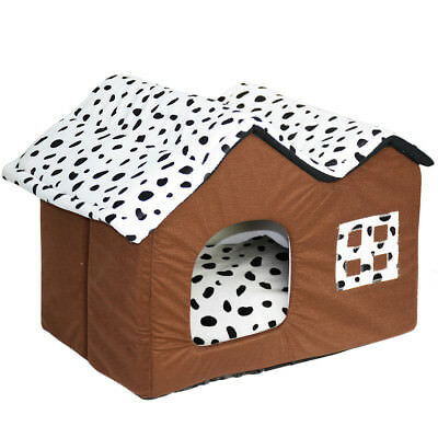 Luxury High End Double Pet House Brown Dog Cat Kennel Animal Sleeping Hut Den