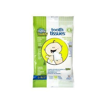 Baby Buddy Tooth Tissues Stage 1 for Baby/Toddler, Bubble Gum Flavor Kids New