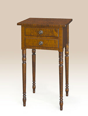 Two Drawer Bedroom Stand Tiger Maple Wood End Table Traditional Style Furniture