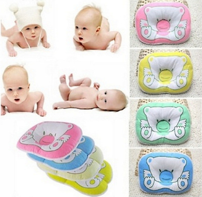 Bear Pattern Pillow Newborn Infant Baby Support Cushion Pad Prevent Flat Head A