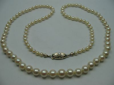 Beautiful Antique Long Saltwater Collier Pearl Necklace with Clasp from 333 Gold