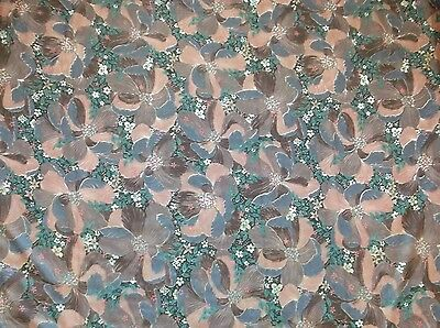 Vintage Soft Tropical Floral Brown Gray Pink Crepe Polyester Fabric 50x95