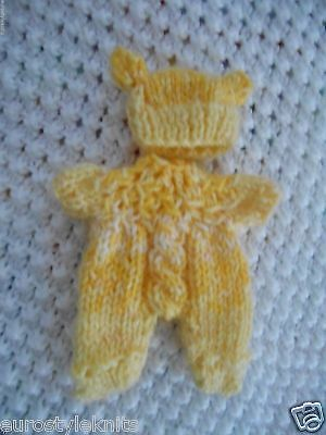 """Doll Clothes Yellow Hand Knitted Sleeper footed set fit Berenguer Baby 5"""" ooak 6"""