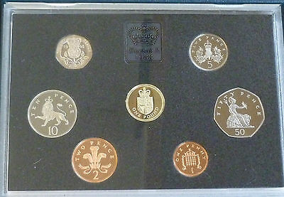 1988 Royal Mint UK Proof 7 Coin Year Set Cased Shield £1 & Large 50p + COA