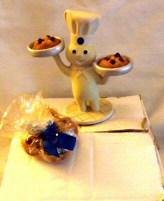 Rare Pillsbury Dough Boy Doughboy Candle Holder w Choc Chip Candles Advertising
