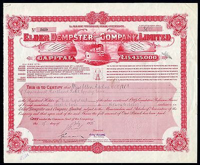 Elder Dempster & Co. Ltd., 5.5% preference shares, 1924, capital £15,435,000