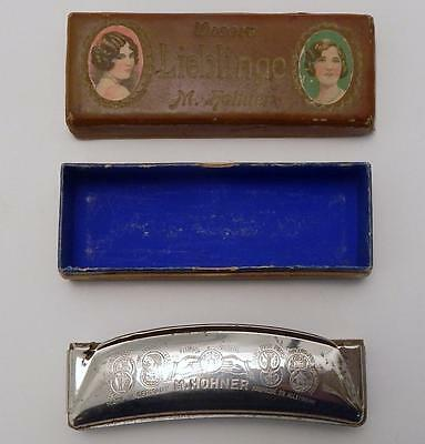 Antique Unsere Lieblinge M. Hohner Harmonica in G Key with Two Piece Box
