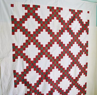 Vintage Christmas Quilt TOP Double Irish Chain Gorgeous 92 by 82 inches Crisp