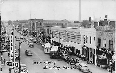 Main Street Miles City Montana nice real photo postcard postally used in 1951