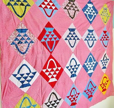 Fabulous Antique Basket Quilt TOP Double Pinks Indigo 90 by 80 inches