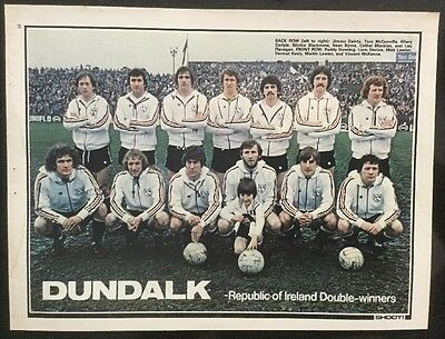 1979 A4 Football TEAM picture poster DUNDALK Republic of Ireland Double Winners