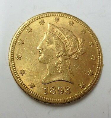 1893-S $10.00 Liberty Gold Eagle UNC (Better Date)