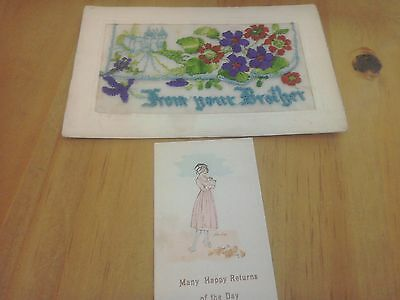 WW1 Silk Postcard From your Brother.