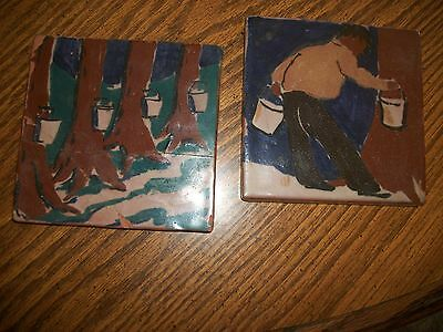 "vintage pottery tiles, hand painted, RARE. 4 3/4"" 2 pcs."