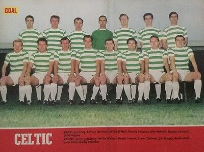 1969 A4 Football TEAM picture poster CELTIC inc Craig Gemmell Wallace Auld etc