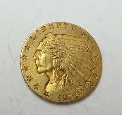 1908 $2.50 Indian Gold Quarter Eagle XF