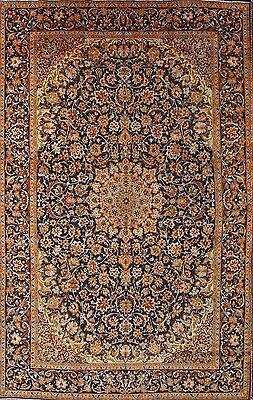 Palace Sized Antique Navy Blue Floral 10x16 Isfahan Persian Oriental Area Rug