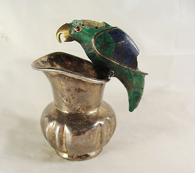 Mexican Sterling Silver Pitcher Parrot Inlaid Stone Signed