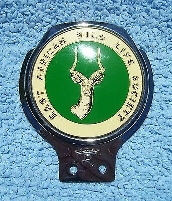 VINTAGE 1960s EAST AFRICAN WILD LIFE SOCIETY CAR BADGE - LANDROVER SAFARI EMBLEM