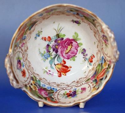 Porcelain Reticulated Basket Hand Painted Flowers Antique Vienna