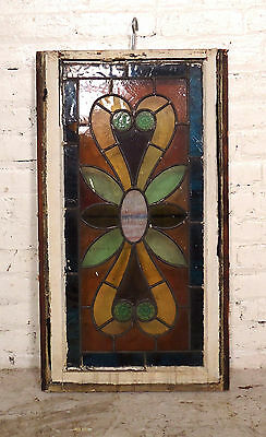 Vintage Antique Stained Glass Window Panel (06573)NS