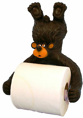 Bear toilet paper holder bathroom cabin log home decor 4047