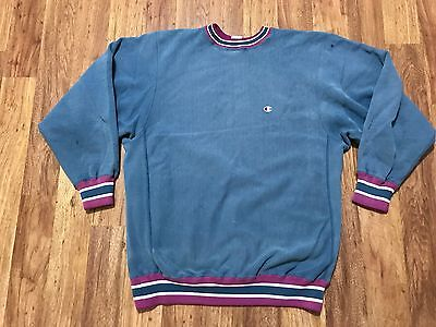Mens Vtg 80s Champion Reverse Weave Blue Purple Distressed Sweatshirt L/XL USA