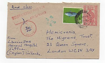 1975 SRI LANKA Cover JAFFNA To LONDON Uprated Stationery POSTAGE DUE