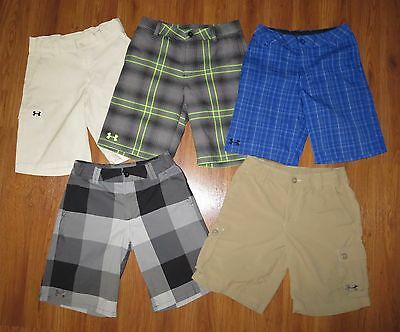 Lot 5 Boy's UNDER ARMOUR Forged Plaid Loose Cargo Golf Shorts YMD Medium 10/12