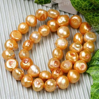 10-11Mm Cultured Freshwater Nugget Orange Pearl Beads