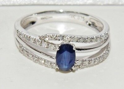 Beautiful 9ct White Gold Blue Sapphire & Diamond Cocktail Ring - size O