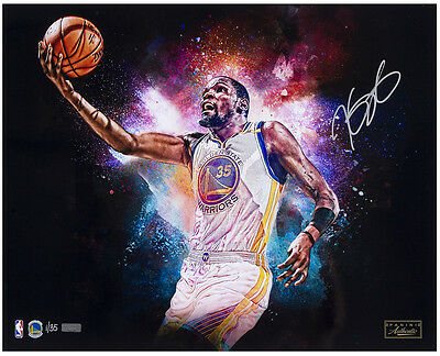 "KEVIN DURANT Autographed Warriors ""Cosmic"" 16 x 20 Photograph LE 35 PANINI"