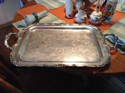 Large antique Benedict Proctor Mfg silverplate on copper butlers serving tray