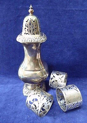 Decorative EPNS sugar caster & 3 napkin rings ##gaWAR75BS