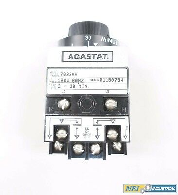 New Agastat 7022Ah 3-30Min Timing Relay 120V-Ac D565499