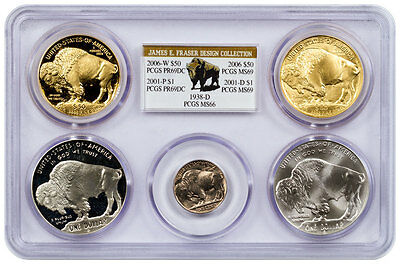 James Fraser Design Collection 5-Coin Buffalo Set PCGS Multicoin Holder SKU47412