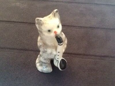 Vintage Beswick Cat Band Member Playing Saxophone c1950 Excellent Condition