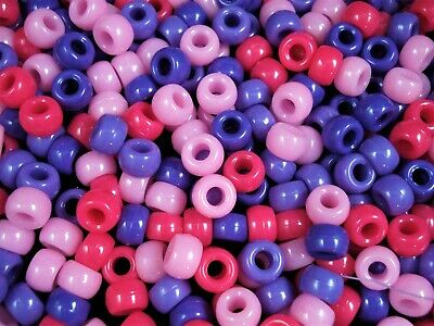 Pony Beads 9x6mm Pink/Purple Mix 500pc Bulk Pack Kids Hair Party FREE POSTAGE