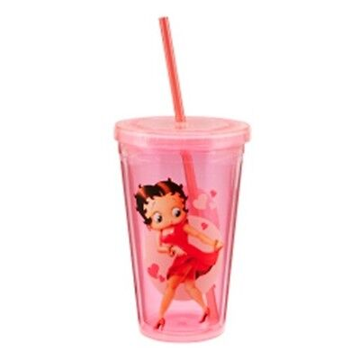 Betty Boop 18 oz Pink Character Image Acrylic Travel Cup, NEW UNUSED