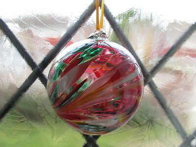 Glass Mouth Blown Spirit or Friendship Ball,Multi Brights 8cm Boxed Ideal Gift