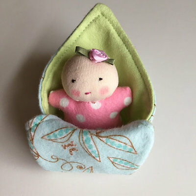 Tiny bald baby, Small handmade Waldorf cloth doll with blanket