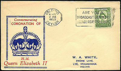 Ceylon 1953 QEII Coronation FDC First Day Cover #C42247