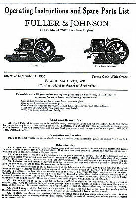Fuller & Johnson FJ Gas Engine Motor Type NB manual book hit miss 2HP Parts List