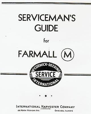 International IH Farmall M Tractor Manual Book Part Gas Engine McCormick Deering